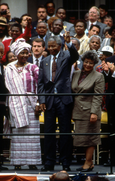 Nelson Mandela receives the key to the City of New York shortly after his release from prison in South Africa